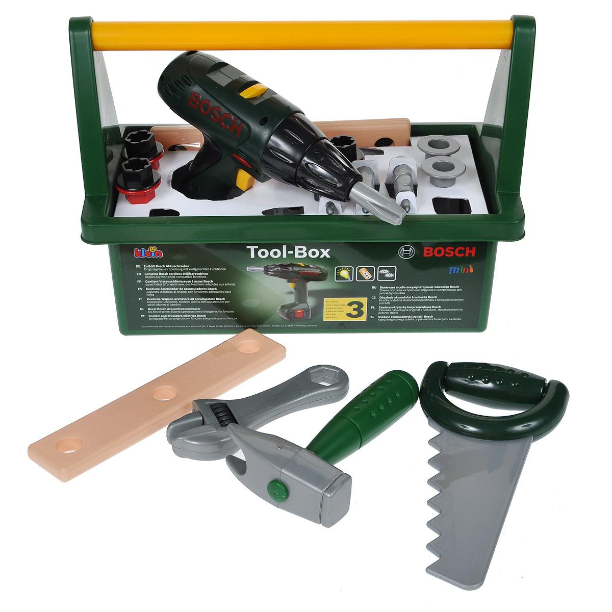 Набор инструментов Klein Bosch, в чемоданчике, 15 предметов8429Набор инструментов Klein Bosch, выполненных из прочного безопасного пластика, непременно понравится юному строителю. Набор состоит из 15 предметов, являющихся копиями реальных инструментов и предметов. В комплект набора входят: шуруповерт с четырьмя сменными насадками, которые вращаются при включении; молоток, пила, гаечный ключ, две детали с отверстиями, четыре шурупа с винтами и два гвоздика. Шуруповерт оснащен световыми и звуковыми эффектами, что придает игре реалистичность. Элементы набора упакованы в пластиковый чемоданчик с удобной ручкой, в котором их удобно хранить и переносить. Набор инструментов Klein Bosch отлично подойдет для ролевых игр ребенка, как в помещении, так и на свежем воздухе. Шуруповерт работает от 3 батарей напряжением 1,5V типа АА (не входят в комплект).