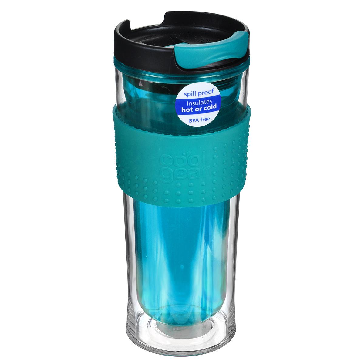 Кружка дорожная Cool Gear Eco 2 Go для горячих напитков, цвет: бирюзовый, черный, 420 мл. 12801280Дорожная кружка Cool Gear Eco 2 Go изготовлена из высококачественного BPA-free пластика, не содержащего токсичных веществ. Двойные стенки дольше сохраняют напиток горячим и не обжигают руки. Надежная закручивающаяся крышка с защитой от проливания обеспечит дополнительную безопасность. Крышка оснащена клапаном для питья. Оптимальный объем позволит взять с собой большую порцию горячего кофе или чая. Также подходит и для холодных напитков. Антискользящий ободок предотвращает выскальзывание кружки из рук. Кружка идеальна для ежедневного использования. Она станет вашим обязательным спутником в длительных поездках или занятиях зимними видами спорта. Не рекомендуется использовать в микроволновой печи и мыть в посудомоечной машине. Cool Gear - мировой лидер в сфере производства товаров для питья, продукция которого пользуется огромной популярностью по всему миру! Ассортимент компании включает более 120 видов бутылок для питья и дорожных кружек. Выбирайте для...