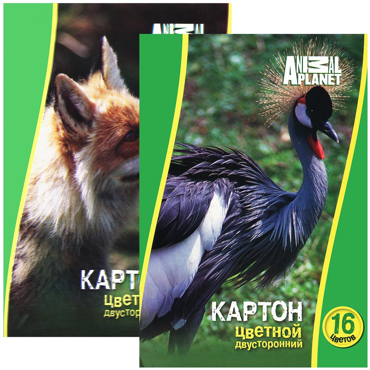 Набор цветного мелованного двустороннего картона ACTION! ANIMAL PLANET,ф.А4, 8 листов, 16 цветов, 2 шт в упаковке, 2 дизайна, (ACTION!)
