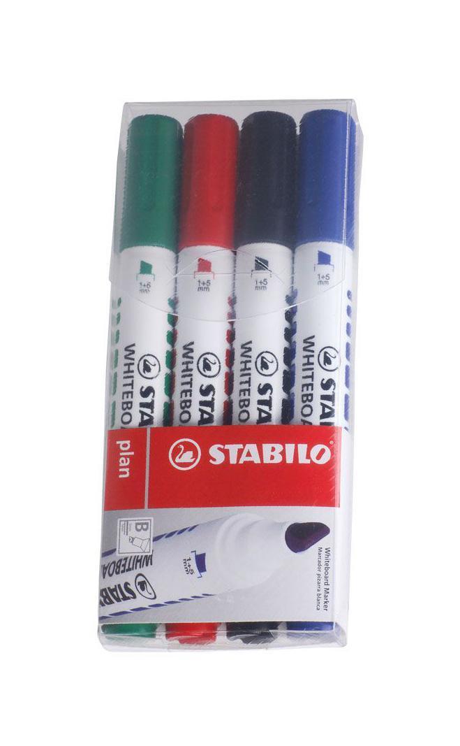 Набор маркеров Stabilo Plan, 4 шт643/4STABILO plan 641.Заправляемый маркер для белых досок с круглым наконечником. Надписи легко и без следов удаляются сухой салфеткой или специальной губкой. Идеально подходит для письма на флипчартах и бумаге. Чернила без запаха. Толщина линии 2,5-3,5 мм. Набор маркеров для досок STABILO plan 641 в пластиковом футляре. Четыре цвета: синий, черный, красный, зеленый.