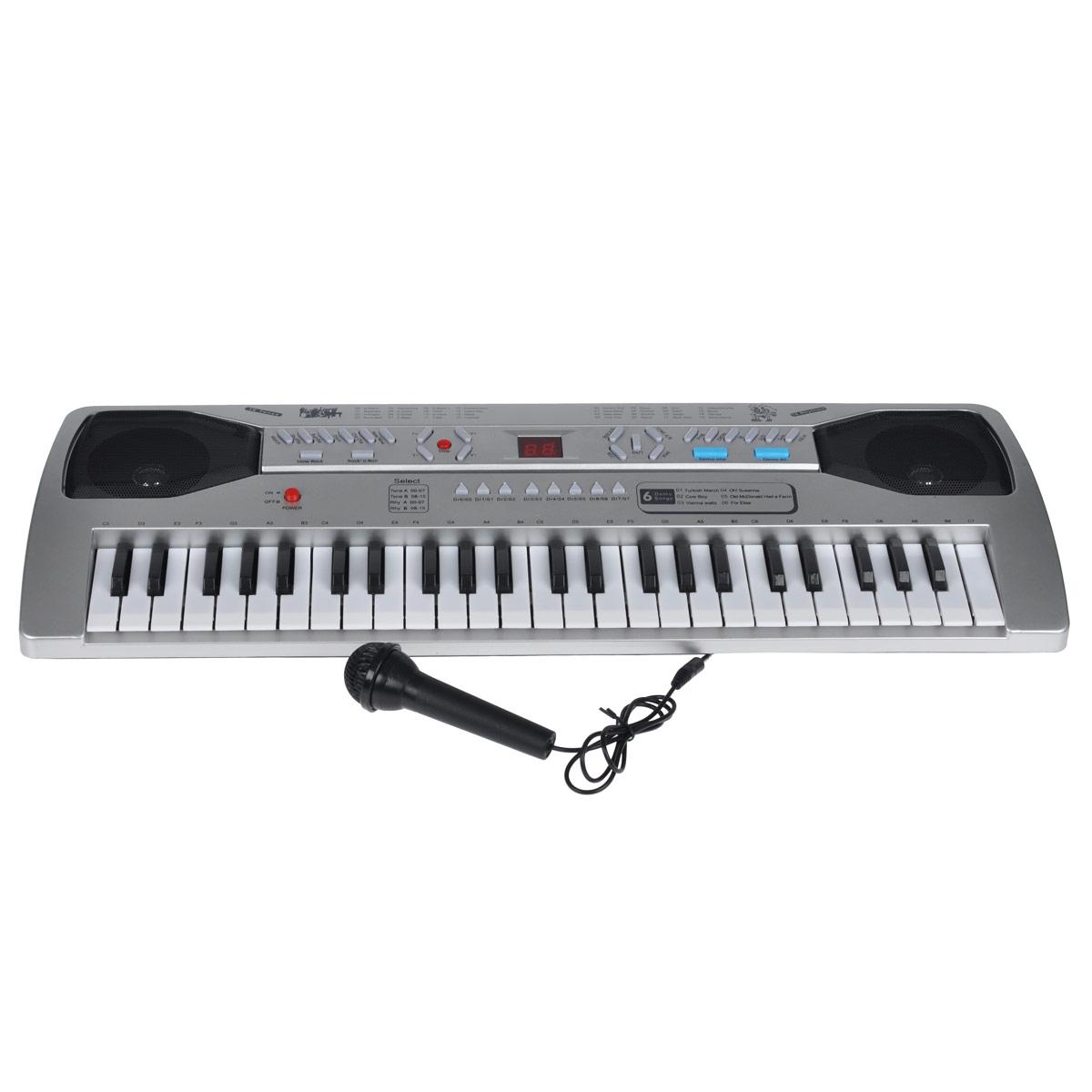 Синтезатор DoReMi, 49 клавиш, с микрофоном. D-00036D-00036Яркий синтезатор DoReMi привлечет внимание вашего ребенка и доставит ему много удовольствия от часов, посвященных игре с ним. Синтезатор имеет два дисплея, 49 музыкальных клавиш и множество кнопок, позволяющих добавлять различные звуковые эффекты при составлении мелодий, менять темп и ритм музыки. Также можно произвести запись мелодий и воспользоваться караоке- микрофоном. Основные характеристики синтезатора: 16 звуков музыкальных инструментов; 16 темпов ритма; 8 звуков электронной барабанной установки, 6 песен; запись, воспроизведение; караоке; 16 уровней громкости; 32-х кратное увеличение темпа; режим обучения; автоматическое выключение. В комплект входят синтезатор, зарядное устройство и проводной микрофон. С помощью этого синтезатора ребенок сможет развить свои музыкальные способности и порадовать друзей и близких великолепным концертом. Порадуйте его таким замечательным подарком! ...