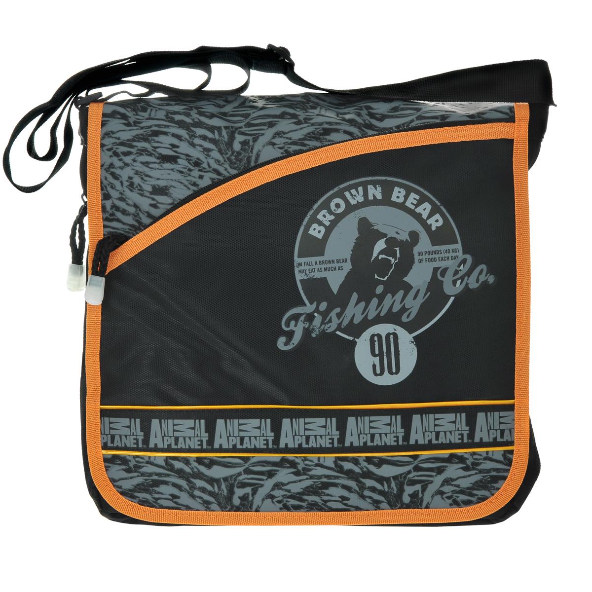 Сумка молодежная Action! Animal Planet, цвет: черный, серый, оранжевыйAP-AB12000/2Стильная молодежная сумка Action! Animal Planet выполнена из плотного полиэстера и оформлена декоративными термоаппликациями. Сумка содержит одно отделение, закрывающееся на застежку-молнию и сверху клапаном на липучках. Внутри отделения расположены разделитель на липучке и небольшой кармашек, закрывающийся на застежку-молнию. Под клапаном находится большой карман, внутри которого расположен небольшой кармашек без застежки, кармашек для карточек или визиток и три кармашка для пишущих принадлежностей. На клапане расположен внешний прорезной карман, закрывающийся на застежку-молнию. На тыльной стороне сумки также находится прорезной карман на застежке-молнии. По бокам и нижнему краю сумки расположена застежка-молния, расстегнув которую можно увеличить ширину сумки. Сумка оснащена текстильным ремнем для переноски на плече, регулирующимся по длине.