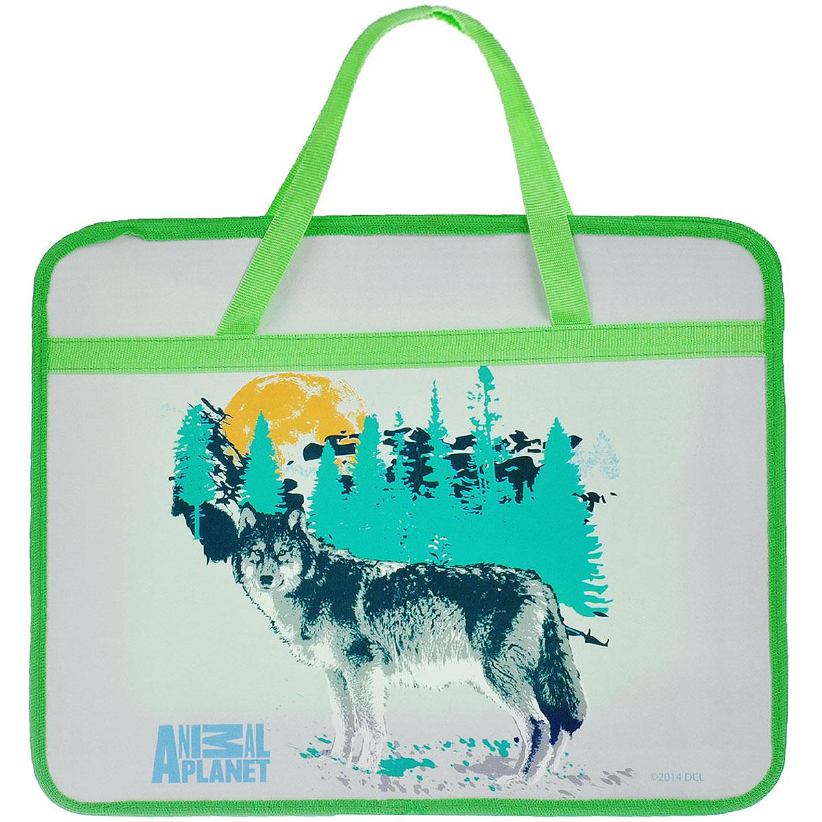 Папка для тетрадей Action! Animal Planet, цвет: серый, салатовыйAP-FZHA4-1Папка Action! Animal Planet предназначена для хранения тетрадей, рисунков и прочих бумаг с максимальным форматом А4. Папка выполнена из прочного материала, оформлена изображением волка и содержит одно отделение. Закрывается она на застежку-молнию. Папка дополнена двумя текстильными ручками для переноски. С папкой Action! Animal Planet тетради вашего ребенка всегда будут выглядеть опрятно.