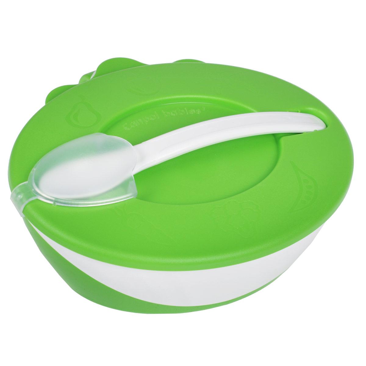 Canpol Babies Миска с ложечкой цвет зеленый