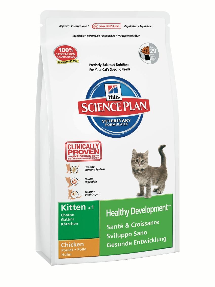Корм сухой для котят Hills Healthy Development, с курицей, 2 кг8735Сухой корм Hills Science Plan Healthy Development предназначен для котят после отъема от матери возрастом до 1 года, а также беременных и кормящих кошек. Это полноценное, точно сбалансированное питание, приготовленное из ингредиентов высокого качества, без добавления красителей и консервантов. Рацион Science Plan содержит эксклюзивный комплекс антиоксидантов с клинически подтвержденным эффектом для поддержки иммунной системы вашего питомца. Показания: 1. Растущие котята. Science Plan Kitten сформулирован для обеспечения всех питательных потребностей растущих котят с момента отъема до полового созревания (12 месяцев). 2. Беременные и кормящие кошки. Science Plan Kitten также отвечает всем питательным потребностям беременных и кормящих кошек. Корм поддерживает здоровье мочевого тракта благодаря контролированию уровня минералов и рН мочи. Корм Science Plan Kitten содержит улучшенную Антиоксидантную Формулу для снижения окислительных повреждений клеток. ...
