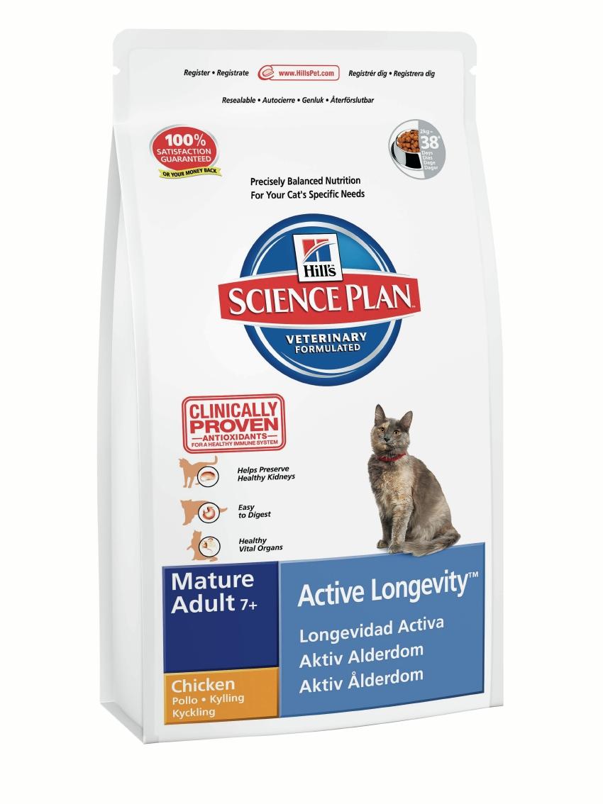 """Корм сухой Hill's """"Active Longevity"""" для пожилых кошек, с курицей, 2 кг 8742"""