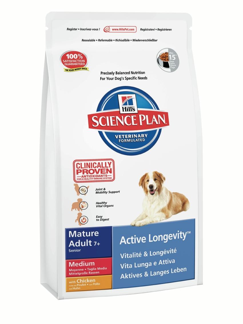 Корм сухой Hills Active Longevity для пожилых собак средних пород, с курицей, 12 кг9272Корм сухой Hills предназначен для пожилых собак средних пород старше 7 лет. Рекомендован для поддержания подвижности, мускулатуры и здоровья внутренних органов. С антиоксидантами с клинически подтвержденным эффектом, глюкозамином и хондроитином из натуральных источников. Ключевые преимущества: Поддержание подвижности и функции суставов с помощью глюкозамина и хондроитина из натуральных источников. Поддержание здоровья внутренних органов за счет оптимального баланса фосфора и натрия. Высоко перевариваемые ингредиенты. Великолепный вкус. Состав: курица (минимум 20% курицы, минимум 30% общего содержания мяса домашней птицы): молотая кукуруза, молотая пшеница, мука из мяса домашней птицы, животный жир, гидролизат белка, сухая свекольная пульпа, мука из гороховых отрубей, растительное масло, семя льна, L-лизина гидрохлорид, калия хлорид, соль, кальция карбонат, DL-метионин, L-треонин, Lриптофан, таурин, витамины имикроэлементы. Содержит...
