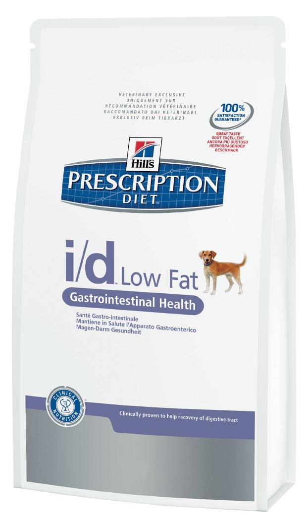 Корм сухой диетический Hills I/D для собак, низкокалорийный, для лечения ЖКТ, 12 кг1809Сухой корм для собак Hills I/D - полноценный диетический рацион при острых кишечных абсорбативных расстройствах, для компенсации дефицита нутриентов (питательных веществ), при нарушении пищеварения и экзокринной недостаточности поджелудочной железы у собак. Рацион содержит повышенный уровень электролитов, ингредиенты высокой биологической ценности и биодоступности и пониженный уровень жира. Высокоусваиваемый рацион с низким содержанием жира для поддержания здоровья желудочно-кишечного тракта в условиях функциональных расстройств и минимизации риска из рецидивов. - Превосходный вкус понравится вашей собаке. - Пребиотические волокна обеспечивают рост полезной микрофлоры. - Добавление имбиря способствует деликатному пищеварению. Рекомендации по кормлению: рекомендуемое число кормлений: 2 раза в сутки и более. Для поддержания оптимального веса питомца суточная норма корма, обозначенная на упаковке, требует корректировки в соответствии с...