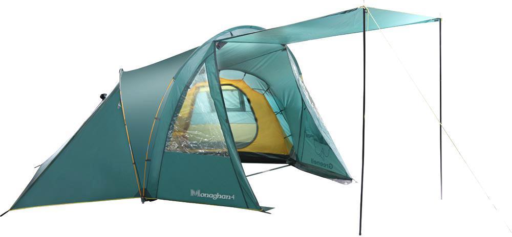 Палатка Greenell Monaghan 425563-303-00Легкая четырехместная местная кемпинговая палатка оригинальной конструкции. Два спальных отделения. Проточная вентиляция большого тамбура. Возможна отдельная установка тента. Дополнительные преимущества: Проклеенные швы; Ветрозащитная юбка; Противомоскитная сетка; Прозрачные окна.
