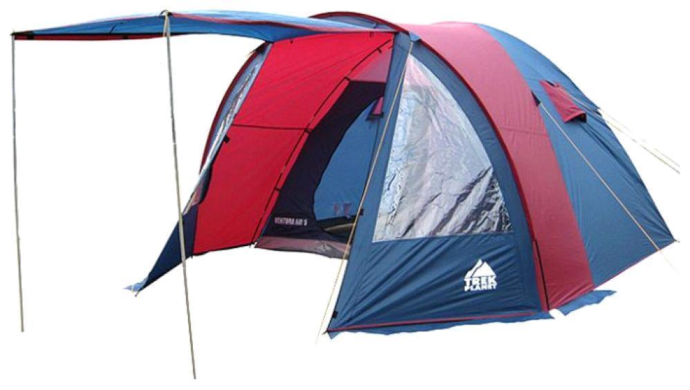 Палатка четырехместная TREK PLANET Ventura Air 4, цвет: синий, серый70230Четырехместная двухслойная классическая палатка TREK PLANET Ventura Air 4 с вместительным светлым тамбуром, обзорными окнами и двумя входами в палатку с противоположных сторон. ОСОБЕННОСТИ МОДЕЛИ: - Тент палатки из полиэстера с пропиткой PU надежно защищает от дождя и ветра. - Все швы проклеены. - Высокий, вместительный и светлый тамбур. - Обзорное окно со шторкой во внутреннем помещении. - Дно из прочного водонепроницаемого армированного полиэтилена позволяет устанавливать палатку на жесткой траве, песчаной поверхности, глине и т.д. - Дуги из прочного стеклопластика. - Внутренняя палатка из дышащего полиэстера, обеспечивает вентиляцию помещения и позволяет конденсату испаряться, не проникая внутрь палатки. - Два входа во внутреннюю палатку с противоположных сторон тента. - Вентиляционные окна в спальном отделении. - Москитная сетка на каждом входе в палатку в полный размер двери. - Внутренние карманы для...