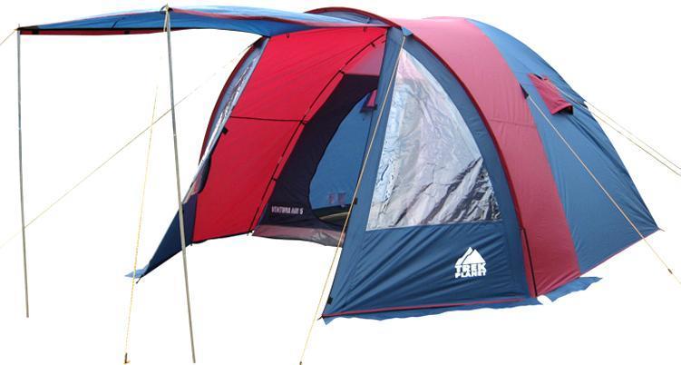 Палатка пятиместная TREK PLANET Ventura Air 5, цвет: синий, серый70232Пятиместная двухслойная классическая палатка TREK PLANET Ventura Air 5 с вместительным светлым тамбуром, обзорными окнами и двумя входами во внутреннюю палатку с противоположных сторон. Особенности модели: - Тент палатки из полиэстера с пропиткой PU надежно защищает от дождя и ветра; - Все швы проклеены; - Высокий, вместительный и светлый тамбур; - Обзорное окно со шторкой во внутреннем помещении; - Дно из прочного водонепроницаемого армированного полиэтилена позволяет устанавливать палатку на жесткой траве, песчаной поверхности, глине и т.д.; - Дуги из прочного стеклопластика; - Внутренняя палатка из дышащего полиэстера, обеспечивает вентиляцию помещения и позволяет конденсату испаряться, не проникая внутрь палатки; - Два входа во внутреннюю палатку с противоположных сторон тента; - Вентиляционные окна в спальном отделении; - Москитная сетка на каждом входе в палатку в полный размер двери; - Внутренние...