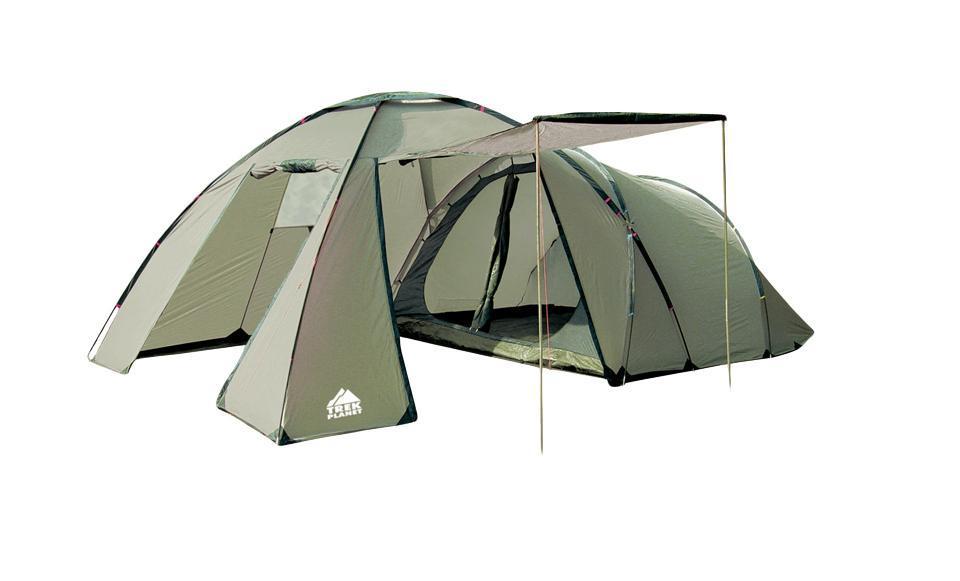 Палатка пятиместная TREK PLANET Montana 5, цвет: светлый хаки, хаки70242Пятиместная двухслойная семейная палатка TREK PLANET Montana 5 с отличной вентиляцией и огромным внутренним помещением, позволяющим расположиться внутри всей семьей или небольшой компании отдыхающих - отличный выбор для семейного кемпинга и отдыха на природе. Особенности модели: - Размер спальной комнаты: 300 см х 240 см х 160 см; - Тент палатки из полиэстера с пропиткой PU надежно защищает от дождя и ветра; - Все швы проклеены; - Большое и высокое внутреннее помещение, где свободно размещается кемпинговый стол и стулья на 4-5 человек; - Отличная потолочная система вентиляции в тамбуре; - Обзорное окно со шторкой во внутреннем помещении; - Большой выносной козырек на металлических стойках; - Защитная юбка из армированного полиэтилена по периметру внутреннего помещения; - Дуги из прочного стеклопластика; - Внутренняя палатка из дышащего полиэстера, обеспечивают вентиляцию помещения и позволяют конденсату...