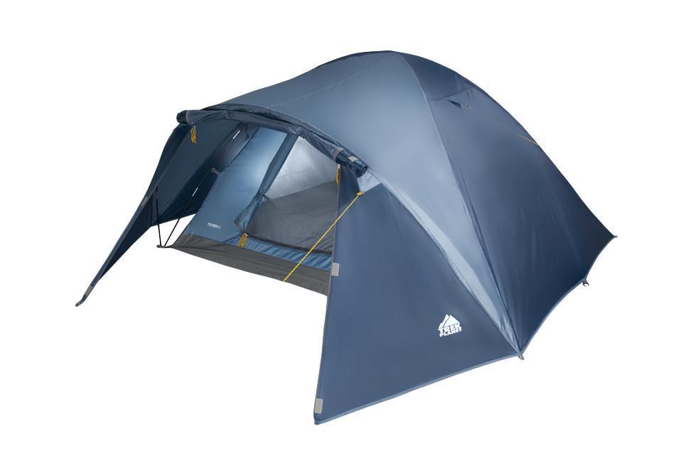 Палатка трехместная Trek Planet Palermo 3, цвет: синий70164Двухслойная трехместная палатка куполообразной формы с вместительным тамбуром Trek Planet Palermo 3 - отлично подойдет для похода или путешествия. Особенности модели: Палатка легко и быстро устанавливается, Тент палатки из полиэстера, с пропиткой PU водостойкостью 2000 мм, надежно защитит от дождя и ветра, Все швы проклеены, Внутренняя палатка, выполненная из дышащего полиэстера, обеспечивает вентиляцию помещения и позволяет конденсату испаряться, не проникая внутрь палатки, Москитная сетка на входе в спальное отделение в полный размер двери, Вентиляционный клапан, Каркас выполнен из прочного стеклопластика, Дно изготовлено из прочного армированного полиэтилена, Внутренние карманы для мелочей, Возможность подвески фонаря в палатке. Палатка упакована в сумку-чехол с ручками, застегивающуюся на застежку-молнию. Размер в сложенном виде: 63 см х 18 см х 18 см.