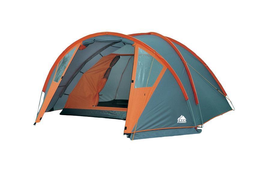 Палатка Trek Planet Hudson 2, цвет: серый, оранжевый70213Двухместная палатка куполообразной формы Trek Planet Hudson 2 с хорошей вентиляцией, вместительным тамбуром и обзорными окнами, спортивного типа, подходит для длительного путешествия. Особенности модели: Простая и быстрая установка. Тент палатки из полиэстера, с пропиткой PU водостойкостью 3000 мм, надежно защищает от дождя, всен швы проклеены. Дно палатки из прочного полиэстера Oxford водостойкостью 6000 мм. Каркас из жестких, прочных и легких композитных дуг (Durapol). Обзорные окна в тамбуре. Внутренняя палатка из дышащего полиэстера, обеспечивает вентиляцию помещения и позволяет конденсату испаряться, не проникая внутрь палатки. Вентиляционное окно. Удобная D-образная дверь с москитной сеткой в полный размер на входе во внутреннюю палатку. Внутренние карманы для мелочей. Возможность подвески фонаря в палатке. Для удобства транспортировки и хранения предусмотрен современный компрессионный чехол с...