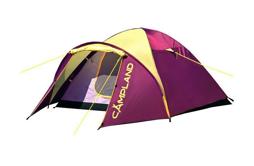 Палатка Campland Drone 3 Violet-YellowDrone 3Легкая и компактная двухслойная трехместная палатка полусфера Campland Drone. Ветроустойчивая конструкция. Тамбур увеличен за счет дополнительной дуги над входом. Идеально подойдет для непродолжительных стоянок и велопоходов. Особенности: Швы проклеены; Вентиляционные окна с москитной сеткой; Чехол с утягивающими стропами.
