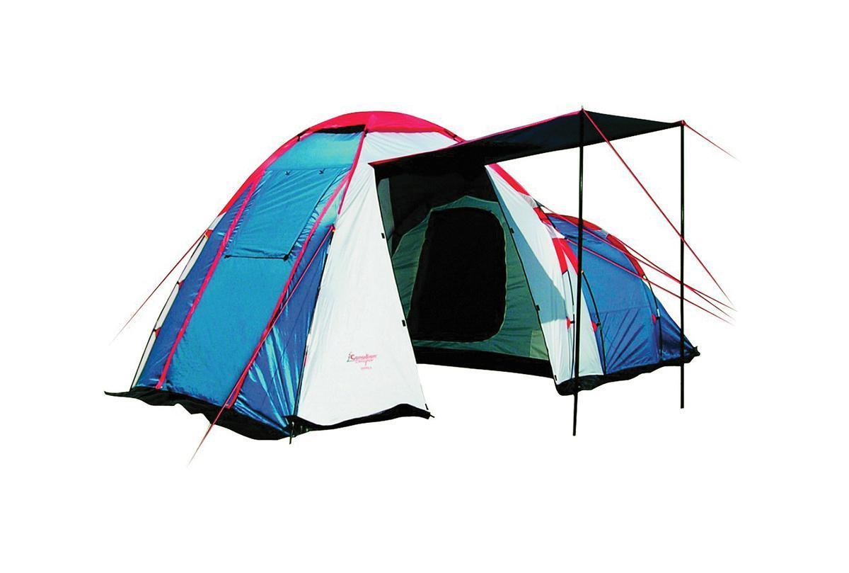 Палатка CANADIAN CAMPER HYPPO 4 (цвет royal)30400012Кемпинговая палатка Canadian Camper Hyppo 4 – одна из самых популярных моделей, которую выбирают современные путешественники. Эта вместительная и просторная палатка легко устанавливается, она отлично подходит для жаркой и прохладной погоды. Палатку известного канадского бренда отличает особенная продуманная конструкция, высокое качество материалов и исполнения. Особенности палатки для кемпинга Canadian Camper Hyppo 4: Палатка предназначена для кемпинговых лагерей, в ней легко могут отдыхать четыре человека; Вес палатки составляет 8,7 кг, это совсем немного для кемпинговой палатки; У палатки Канадиан Кэмпер Хиппо 4 есть одна спальня с низким потолком, а также высокий тамбур, оборудованный тремя входами; Все входы и окна защищены антимоскитными сетками, защищающими от насекомых; Хорошую вентиляцию обеспечивают верхнее вентиляционное окно и дополнительное окно в спальном отделении. Двери можно оставлять открытыми, оставив только сетки, чтобы сохранить прохладу в жаркую погоду; ...