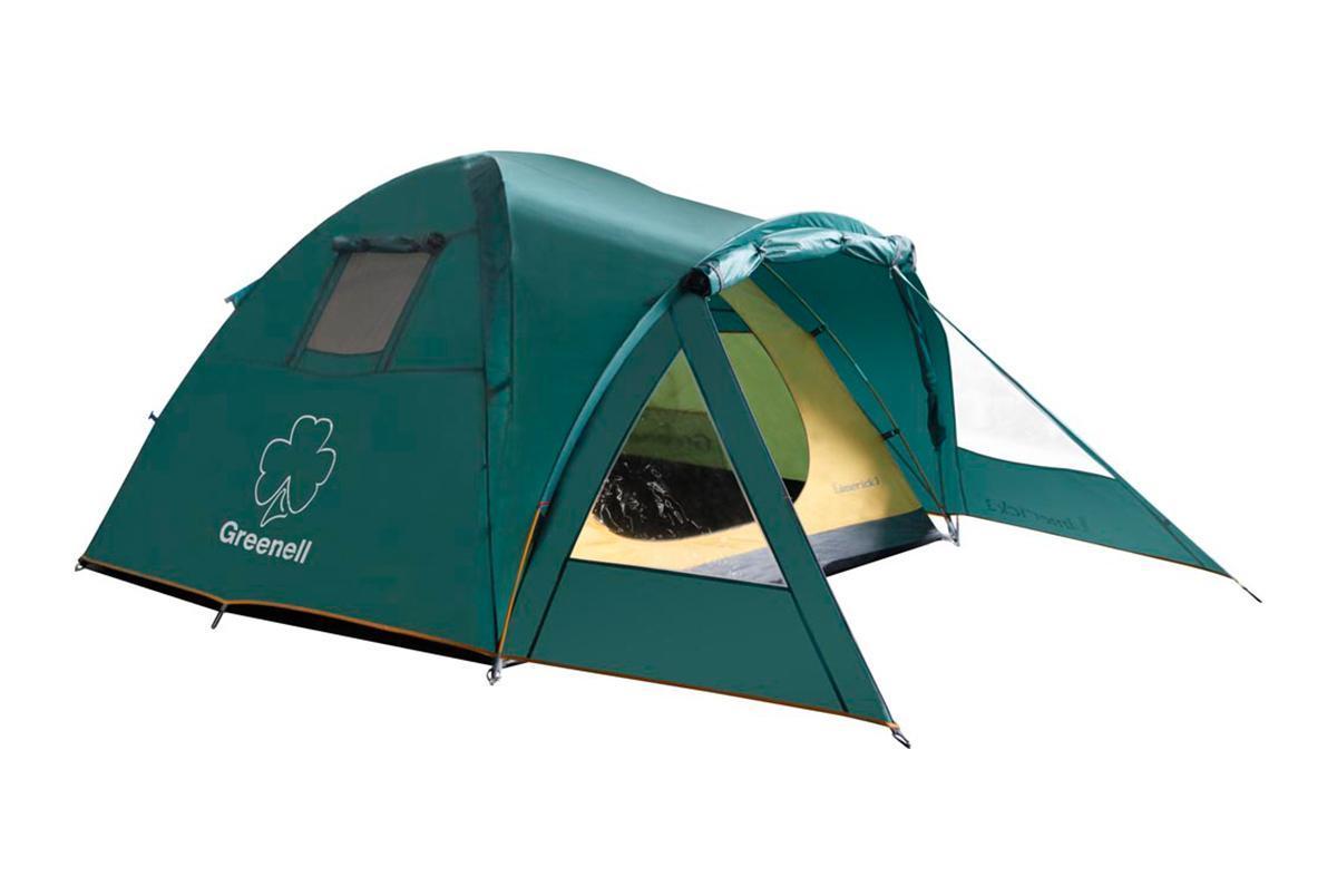 Палатка GREENELL Лимерик 2, цвет: зеленый25413-303-00Удобная палатка GREENELL Лимерик 2 с огромным тамбуром и умеренным весом. Она имеет два тамбура, а вход осуществляется с двух сторон. Дуги встраиваются в карманы, есть окна для вентиляции с сеткой. Можно устанавливать как с тентом так и без него. Швы тента обработаны клеем.