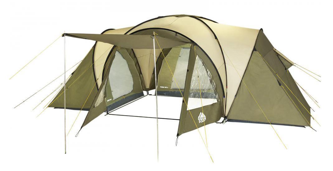 Палатка шестиместная Trek Planet Florida Tripl 6, цвет: хаки70224Шестиместная двухслойная семейная палатка TREK PLANET Florida Tripl 6 с тремя спальными отделениями, отличной вентиляцией, огромным и высоким внутренним помещением между спальными отделениями - отличный выбор для большого семейного кемпинга и отдыха на природе. ОСОБЕННОСТИ МОДЕЛИ: - Тент палатки из полиэстера с пропиткой PU надежно защищает от дождя и ветра. - Все швы проклеены. - Большое и высокое внутреннее помещение между спальными отделениями палатки, где свободно размещается кемпинговый стол и стулья на 6 человек. - Эффективная потолочная система вентиляции. - Большой выносной козырек на металлических стойках. - Дно из прочного водонепроницаемого армированного полиэтилена позволяет устанавливать палатку на жесткой траве, песчаной поверхности, глине и т.д. - Дуги из прочного стекловолокна. - Внутренние палатки из дышащего полиэстера, обеспечивают вентиляцию помещения и позволяют конденсату испаряться, не проникая внутрь ...