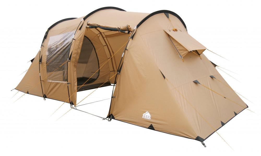 Палатка четырехместная TREK PLANET Omaha Twin 4, цвет: песочный70239Четырехместная двухслойная современная палатка TREK PLANET Omaha Twin 4 с двумя спальными отделениями, отличной вентиляцией, большим и светлым внутренним помещением между спальными отделениями. Благодаря москитной сетке на одном входе в тамбур в полный размер двери с одной стороны и огромному обзорному окну с другой стороны, достигается отличная вентиляция и отличный обзор из палатки! Особенности: - Размер внутренней палатки: 215 см х 195 см х 140 см - П-образная конструкция увеличивает полезное внутреннее пространство палатки по сравнению с традиционной конструкцией. - Тент палатки из полиэстера с пропиткой PU надежно защищает от дождя и ветра. - Все швы проклеены. - Большое и высокое внутреннее помещение между спальными отделениями палатки, где свободно размещается кемпинговый стол и стулья на четверых человек. - Москитная сетка на одном входе в во внутреннее помещение. - Большие обзорные окна со шторками во внутреннем...