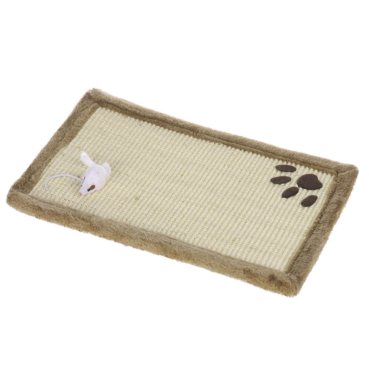 Когтеточка-коврик I.P.T.S., цвет: светло-коричневый, 48 см х 30 см405155Когтеточка для кошек I.P.T.S. выполнена из сизаля в виде коврика, по краям обитого плюшем. Коврик декорирован следом от лапки и белой мышкой. Когтеточка - один из самых необходимых аксессуаров для кошки. Для приучения к ней можно натереть ее сухой валерьянкой или кошачьей мятой. Коврик-когтеточка для кошек I.P.T.S. станет комфортным и любимым местом вашего питомца.
