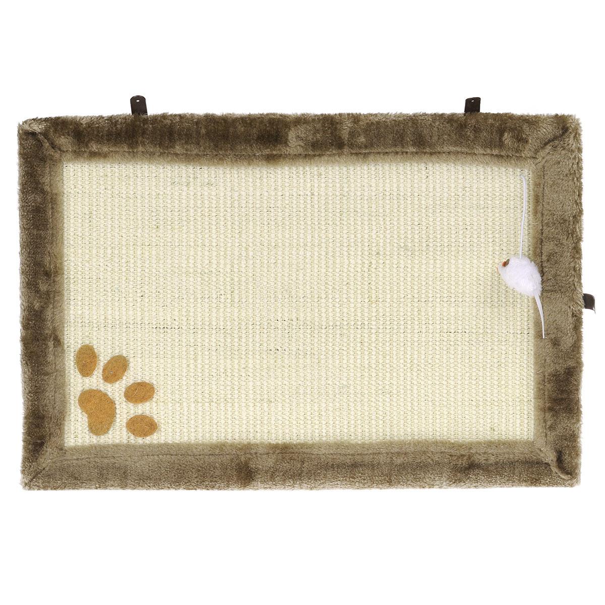Когтеточка-коврик I.P.T.S., цвет: бежевый, 55 см х 35 см16453/405718Когтеточка в виде коврика I.P.T.S. изготовлена из сизаля - устойчивого натурального материала. По краям коврик обит плюшем, который так нравится кошкам. В уголке прикреплена игрушечная мышка на веревочке, которая поможет привлечь внимание вашего питомца к когтеточке и приучить его точить когти в нужном месте. Коврик можно разместить в любом месте вашего дома или даже повесить на стену. Перед тем, как определиться с местом, понаблюдайте за привычками своего любимца - где ему больше по душе точить когти. В комплект входят 3 шурупа.