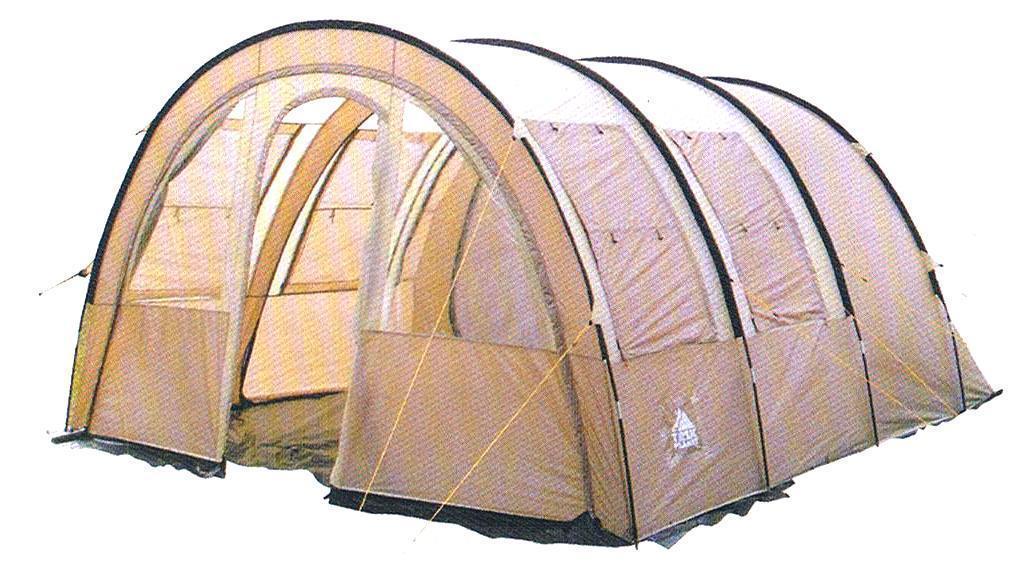 Палатка пятиместная TREK PLANET Vario 5, цвет: песочный70248Пятиместная двухслойная семейная палатка в форме полубочки TREK PLANET Vario 5 с отличной вентиляцией и огромным помещением, позволяющим с комфортом расположиться внутри всей семьей или небольшой компании отдыхающих - отличный выбор для семейного кемпинга и отдыха на природе. Особенности модели: - Размер спальной комнаты: 240 см х 350 см х 210 см; - Тент палатки из полиэстера с пропиткой PU надежно защищает от дождя и ветра; - Все швы проклеены; - Большое и высокое внутреннее помещение, где свободно размещается кемпинговый стол и стулья на 4-5 человек; - Съемный пол в тамбуре из армированного полиэтилена; - Передняя стенка палатки может быть перестегнута на вторую секцию дуг, образуя козырек перед палаткой, а также может быть снята совсем; - Четыре обзорных окна со шторкой во внутреннем помещении, совмещенные с вентиляционными окнами. - Защитная юбка из армированного полиэтилена по периметру внутреннего помещения; -...