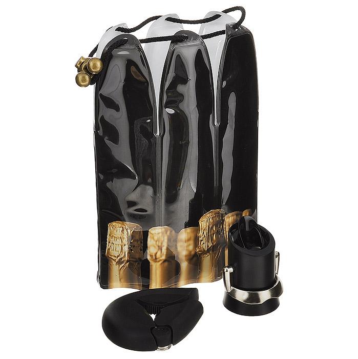 Подарочный набор VacuVin Champagne Essentials, 3 предмета. 38897603889760Подарочный набор VacuVin Champagne Essentials состоит из охлаждающей рубашки, пробки для сохранения и розлива напитков и устройства для открывания бутылок. Набор специально предназначен для шампанского. Охлаждающая рубашка - это уникальное приспособление, которое часами сохраняет напиток холодным даже в жаркую погоду. Внутри содержится специальный гель, не токсичный и безопасный для здоровья. Рубашку необходимо положить в морозильную камеру всего на 5 минут, а затем надеть на бутылку. Благодаря завязкам рубашка надежно сидит на бутылке. Пробка, выполненная из пластика черного цвета, подходит ко всем видам бутылок шампанского. Она сохраняет вкус шампанского и пузырьки, благодаря чему вы можете снова насладиться любимым напитком через несколько дней. Через пробку шампанское также можно и разливать. Благодаря металлической ручке отверстие в пробке легко открывается и закрывается. Устройство для открывания бутылок поможет вам без труда открыть любую...