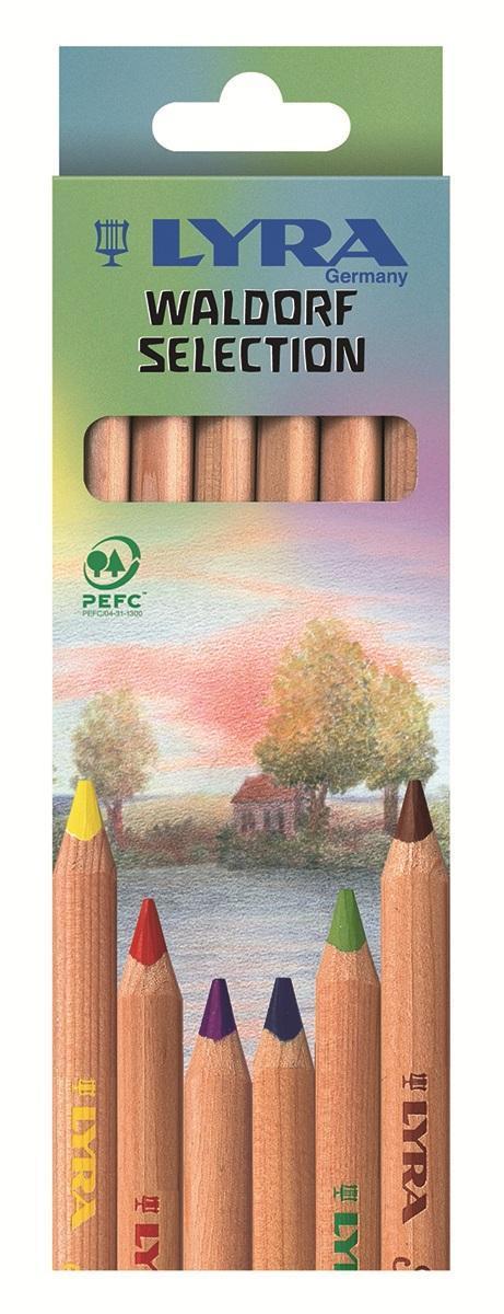 Цветные карандаши Lyra Waldorf Selection, 6 цветовL3711061Цветные карандаши Lyra Waldorf Selection непременно, понравятся вашему юному художнику. Набор включает в себя 6 ярких насыщенных цветных карандаша с треугольной формой для удобного захвата. Уникальные цвета карандашей, разработаны специально немецкой художественной школой. Карандаши изготовлены из натурального дерева, экологически чистые, не лакированные. Идеально подходят для левшей. Имеют прочный неломающийся высокопигментный грифель, не требующий сильного нажатия и легко затачиваются. Порадуйте своего ребенка таким восхитительным подарком! В комплекте: 6 карандашей.