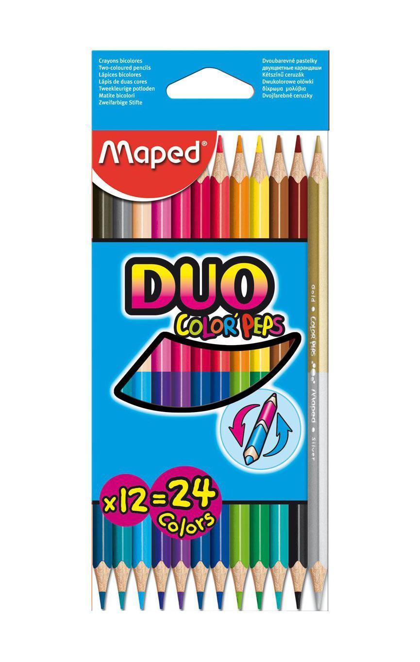 Карандаши цветные двухсторонние Maped Color Peps Duo, 12 карандашей, 24 цвета829600В процессе рисования у малышей развивается наглядно-образное мышление, воображение, мелкая моторика рук, творческие и художественные способности, вырабатывается усидчивость и аккуратность. Цветные карандаши Color Peps Duo - это набор из 12 карандашей «2 в 1». Два цвета располагаются на одном карандаше с разных сторон. Цветные карандаши Color Peps Duo разработаны специально для самых маленьких художников, которые только начинают свой творческий путь. Эргономичный трехгранный корпус из американской липы особенно удобен для маленьких детских ручек. Специальное покрытие и многослойная лакировка уменьшают скольжение, что делает процесс рисования максимально комфортным. Мягкий, ударопрочный грифель не ломается и не крошится при заточке. В процессе рисования у малышей развивается наглядно-образное мышление, воображение, мелкая моторика рук, творческие и художественные способности, вырабатывается усидчивость и аккуратность.