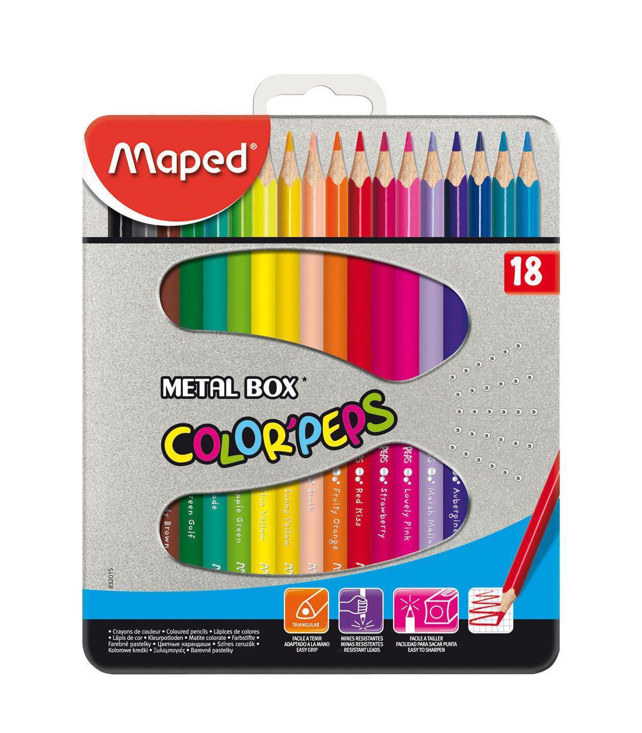 Карандаши цветные Maped Color Peps, в металлическом футляре, 18 цветов832015В процессе рисования у малышей развивается наглядно-образное мышление, воображение, мелкая моторика рук, творческие и художественные способности, вырабатывается усидчивость и аккуратность. Набор содержит карандаши 18 ярких насыщенных цветов, упакованных в прочный металлический футляр. Все карандаши предварительно заточены. Цветные карандаши Color Peps разработаны специально для самых маленьких художников, которые только начинают свой творческий путь. Эргономичный трехгранный корпус из американской липы особенно удобен для маленьких детских ручек. Специальное покрытие и многослойная лакировка уменьшают скольжение, что делает процесс рисования максимально комфортным. Мягкий, ударопрочный грифель не ломается и не крошится при заточке. В процессе рисования у малышей развивается наглядно-образное мышление, воображение, мелкая моторика рук, творческие и художественные способности, вырабатывается усидчивость и аккуратность. Набор содержит карандаши...