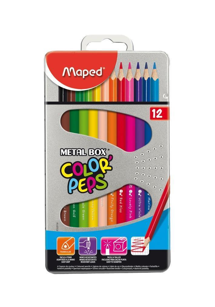 Карандаши цветные Maped Color Peps, в металлическом футляре, 12 цветов832014В процессе рисования у малышей развивается наглядно-образное мышление, воображение, мелкая моторика рук, творческие и художественные способности, вырабатывается усидчивость и аккуратность. Набор содержит карандаши 12 ярких насыщенных цветов, упакованных в прочный металлический футляр. Все карандаши предварительно заточены. Цветные карандаши Color Peps разработаны специально для самых маленьких художников, которые только начинают свой творческий путь. Эргономичный трехгранный корпус из американской липы особенно удобен для маленьких детских ручек. Специальное покрытие и многослойная лакировка уменьшают скольжение, что делает процесс рисования максимально комфортным. Мягкий, ударопрочный грифель не ломается и не крошится при заточке. В процессе рисования у малышей развивается наглядно-образное мышление, воображение, мелкая моторика рук, творческие и художественные способности, вырабатывается усидчивость и аккуратность. Набор содержит карандаши...