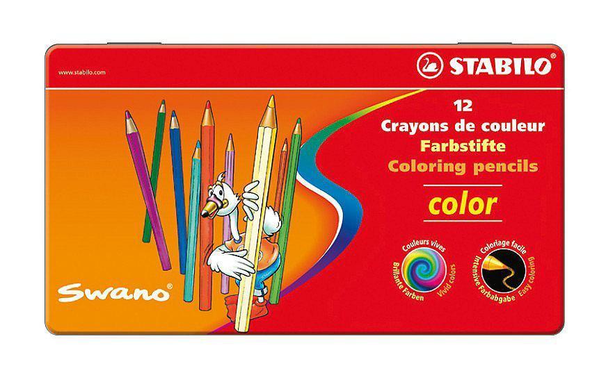 Карандаши цветные Stabilo Color в металлическом футляре, 12 цветов1812-77Серия цветных карандашей STABILO color в металлических футлярах. Широкая гамма цветов, которые отлично смешиваются и позволяют создавать огромное количество оттенков. Насыщенные цвета имеют высокую светостойкость. Мягкий грифель легко рисует на бумаге, не царапая ее и не крошась. Карандаши не ломаются при рисовании и затачивании. Характеристики: Материал: дерево. Диаметр карандаша: 0,7 см. Диаметр грифеля: 2,5 мм. Длина карандаша: 9,5 см. Размер упаковки: 18 см х 10 см х 1 см. Изготовитель: Германия.