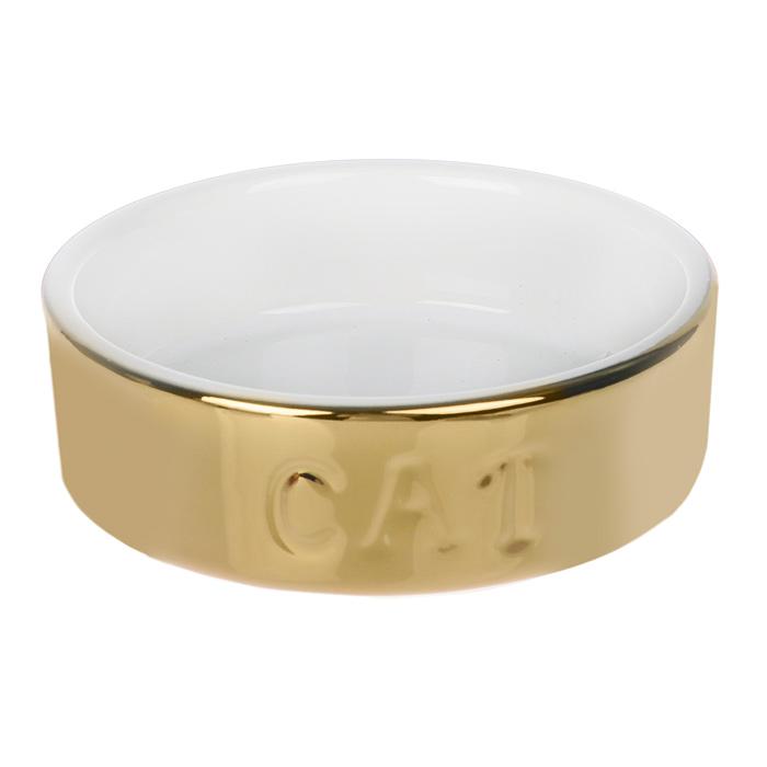 Миска для кошек I.P.T.S., цвет: золотистый, 200 мл24896/651462Миска для кошек I.P.T.S. изготовлена из высококачественной керамики. С внешней стороны миска украшена золотистым покрытием и надписью Cat. Внутренняя поверхность миски - белого цвета. Стильная миска украсит любой интерьер из-за металлического блеска. Предназначена для воды и корма. Объем миски 200 мл.