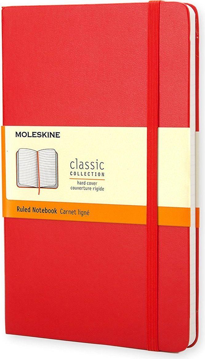 Блокнот Moleskine Classic (в линейку) Large краснаяQP060RENЗаписная книжка с 240 страницами в линейку. Неповторимые черты записной книжки Молескин: Удобная эластичная застежка; Прочная влагозащитная обложка; Прошитый нитками переплет; Практичные скругленные углы; Не желтеющие со временем страницы; Быстро впитывающая чернила бумага; Функциональная лента-закладка; Вместительный внутренний кармашек. Записная книжка Moleskine занимает 17 место среди 999 самых значимых предметов дизайна, созданных в мире за последние 200 лет. (Издание Phaidon Design Classics, Великобритания, 2009).