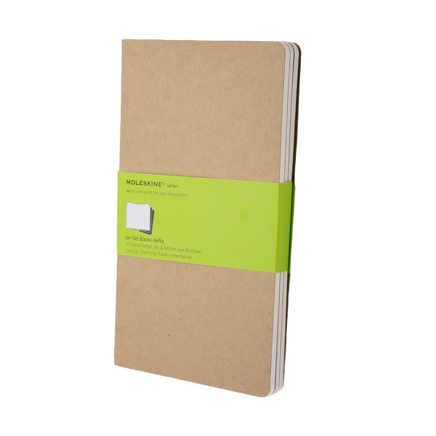 Блокнот Moleskine Cahier (нелинованная) Large бежевая 3 штQP418ENЗаписная книжка в картонной обложке без пропитки содержит 80 нелинованных страниц. Неповторимые черты записной книжки Молескин: Прошитый нитками переплет; Практичные скругленные углы; Не желтеющие со временем страницы; Последние 16 листов с перфорацией для отрыва; Быстро впитывающая чернила бумага; Вместительный внутренний кармашек.