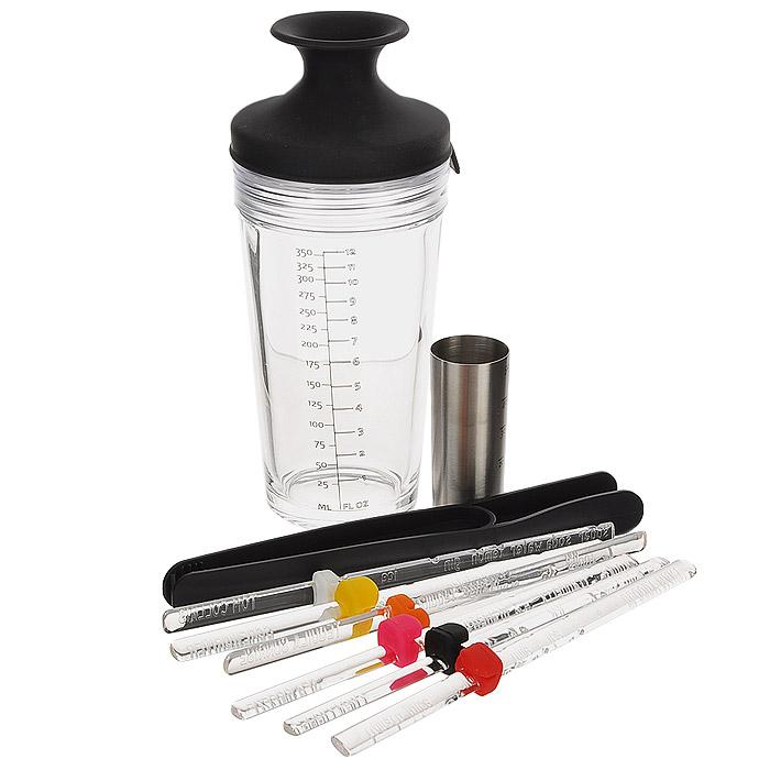 Набор для приготовления коктейлей VacuVin Cocktail Set, 10 предметов7889360Набор для приготовления коктейлей VacuVin Cocktail Set состоит из шейкера, мадлера, щипцов, джиггера и 6 палочек. С помощью такого набора можно в домашних условиях профессионально приготовить любой, даже самый сложный коктейль. Шейкер изготовлен из высокопрочного толстого стекла и оснащен силиконовой крышкой. Уникальная запатентованная система Оксилок позволяет одним движением закрыть шейкер для взбалтывания, а затем, потянув за горлышко, открыть его для разливания коктейля. Встроенное ситечко позволяет разливать коктейль прямо из шейкера, без использования дополнительного ситечка, и не дает твердым ингредиентам попасть в стакан. На стенку шейкера нанесена мерная шкала в миллилитрах и жидких унциях, что позволяет легко отмерить нужный объем жидкостей. Мадлер (пестик) - это приспособление для измельчения ингредиентов. Корпус прибора выполнен из прозрачного пластика, закрывается крышкой. Внутри хранятся пластиковые щипцы и джиггер с...