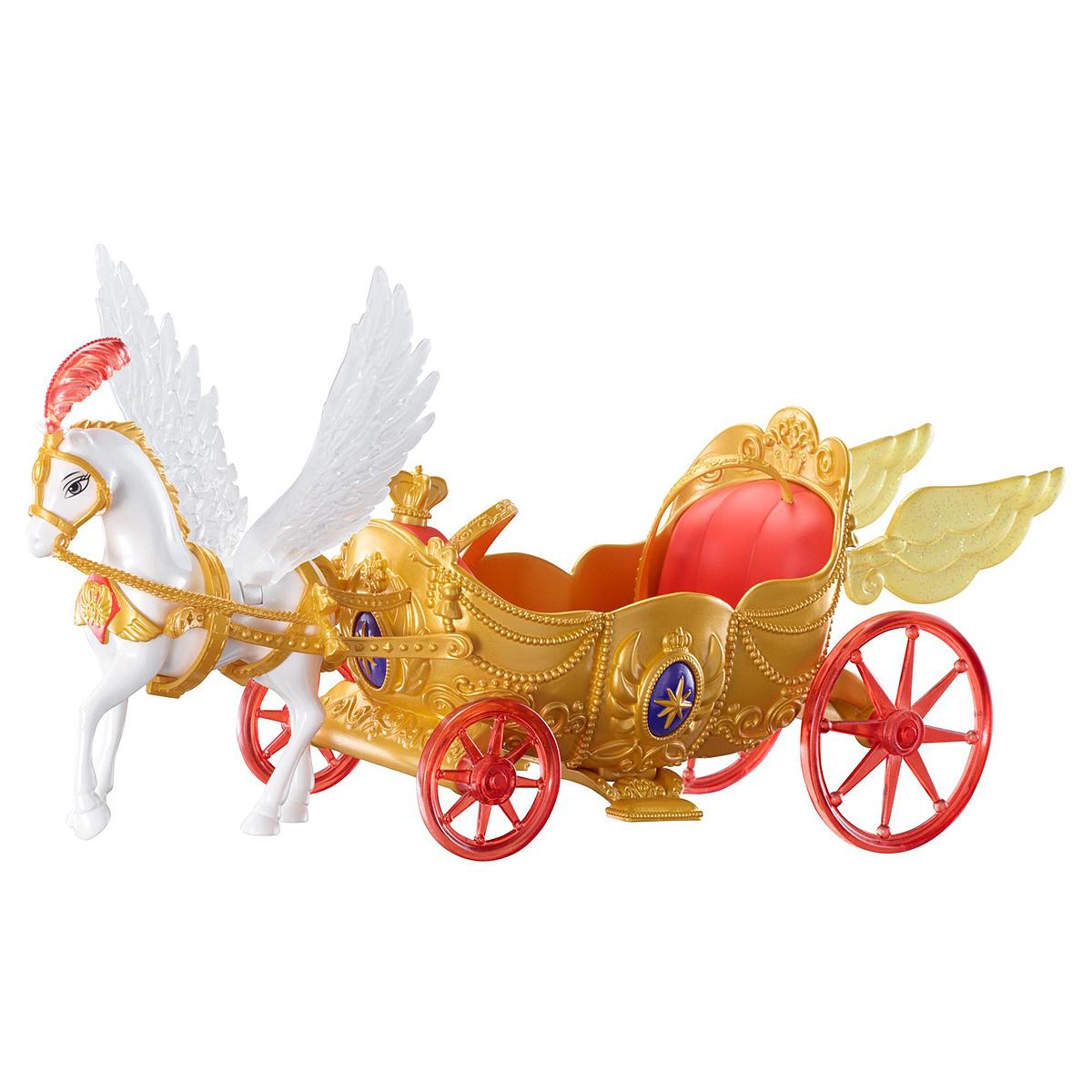 Sofia the First Транспорт для кукол Волшебная королевская каретаY6652Как быстро добираться до школы, чтобы не опаздывать на уроки? Волшебная летающая карета, вмещающая двух кукол, является самым быстрым передвижным средством, да еще и идеально подходящим для принцессы! В карету запряжена величественная белая лошадка с большими крыльями. Золотая карета оснащена небольшими блестящими крылышками, а также кнопкой в виде короны, нажав на которую, вы услышите очаровательную музыку, которая обеспечивает прекрасный фон для воспроизведения сцен из любимого мультфильма София Прекрасная. Порадуйте свою малышку таким замечательным подарком! Куклы приобретаются отдельно. Рекомендуется докупить 3 батареи напряжением 1,5V типа АG13 (товар комплектуется демонстрационными).