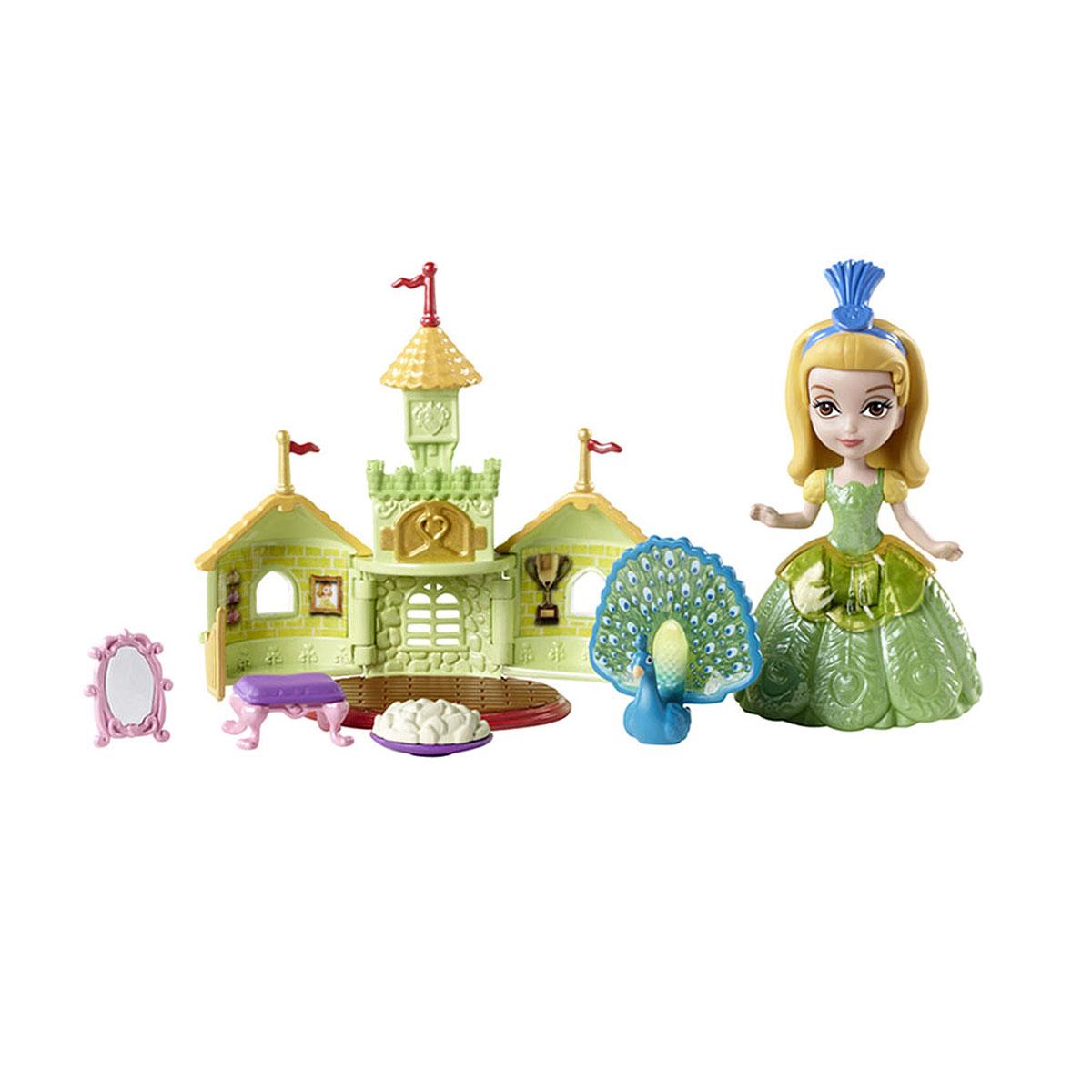 Sofia the First Игровой набор с мини-куклой Принцесса Эмбер и павлин ПрэлинBDK52BDK54Принцесса Эмбер и павлин Прэлин могут целый день веселиться в мини-зоопарке, который открывается и закрывается для хранения зеркала, угощения и стульчика. В комплект с куклой входит фигурка павлина Прэлин, стульчик для него, зеркало, мини-зоопарк в виде замка, угощение и медальон с изображением Прэлин. Порадуйте свою малышку таким замечательным подарком!