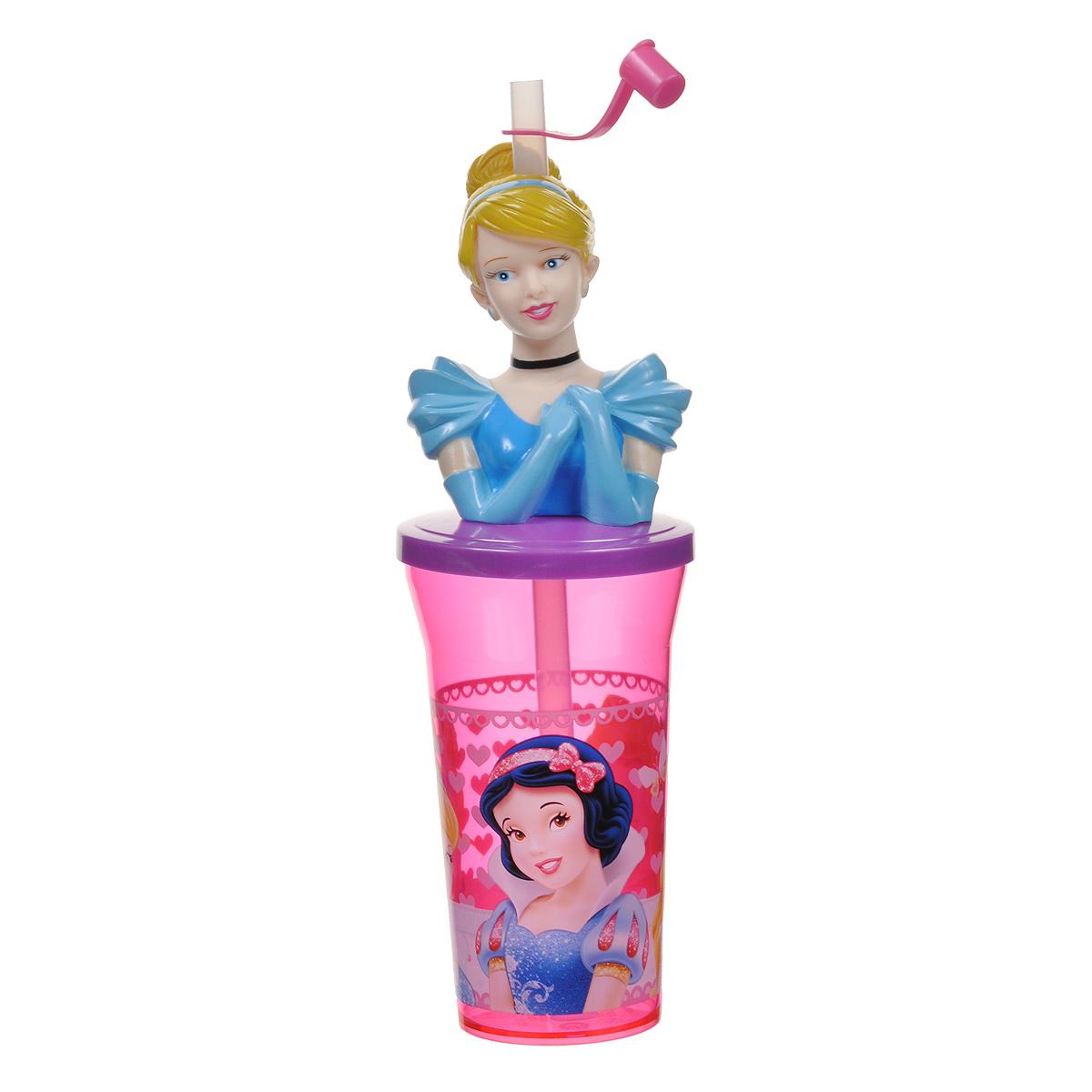 Пластиковый фигурный стакан Stor Принцесса, с крышкой и соломинкой, цвет: розовый, сиреневый, голубой, 400 мл17108Яркий пластиковый стакан Stor Принцесса выполнен из безопасного пластика и оформлен изображениями очаровательных принцесс - героинь диснеевских мультфильмов. Стакан плотно закрывается фигурной крышкой с пластиковым торсом Золушки, в центре которого имеется отверстие для соломинки. Соломинка закрывается защитным колпачком, что исключает попадание пыли и грязи в содержимое стакана и предотвращает проливание жидкости. Не рекомендуется использовать в микроволновых печах и в посудомоечных машинах.