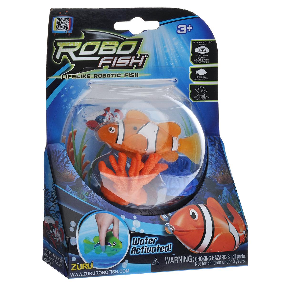 Игрушка для ванны Robofish РобоРыбка с двумя кораллами, цвет: оранжевый2538Игрушка для ванны Robofish РобоРыбка с двумя кораллами понравится вашему малышу и превратит купание в веселую игру. Она выполнена из безопасного пластика в виде маленькой красочной рыбки. Игрушка активируется в воде и имитирует движения и повадки рыбы. Электромагнитный мотор позволяет рыбке двигаться в пяти направлениях. При погружении в аквариум или другую емкостью с водой РобоРыбка начинает плавать, опускаясь ко дну и поднимаясь к поверхности воды. Внутри рыбки находится специальный грузик, регулирующий глубину ее погружения. Если рыбка плавает на дне, не всплывая, - уберите грузик; если на поверхности - добавьте грузик. В комплект также входят два элемента в виде ярких кораллов. Порадуйте вашего ребенка таким замечательным подарком! Игрушка работает от 2 батарей напряжением 1,5V типа LR44 (2 установлены в игрушку и 2 запасные).