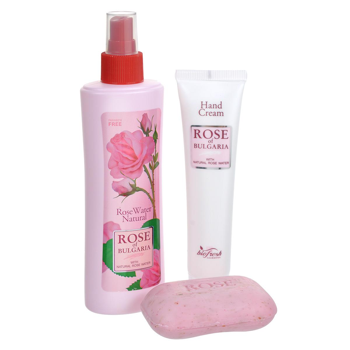Rose of Bulgaria Подарочный набор №2: натуральная розовая вода, мыло с частицами лепестков роз, крем для рук