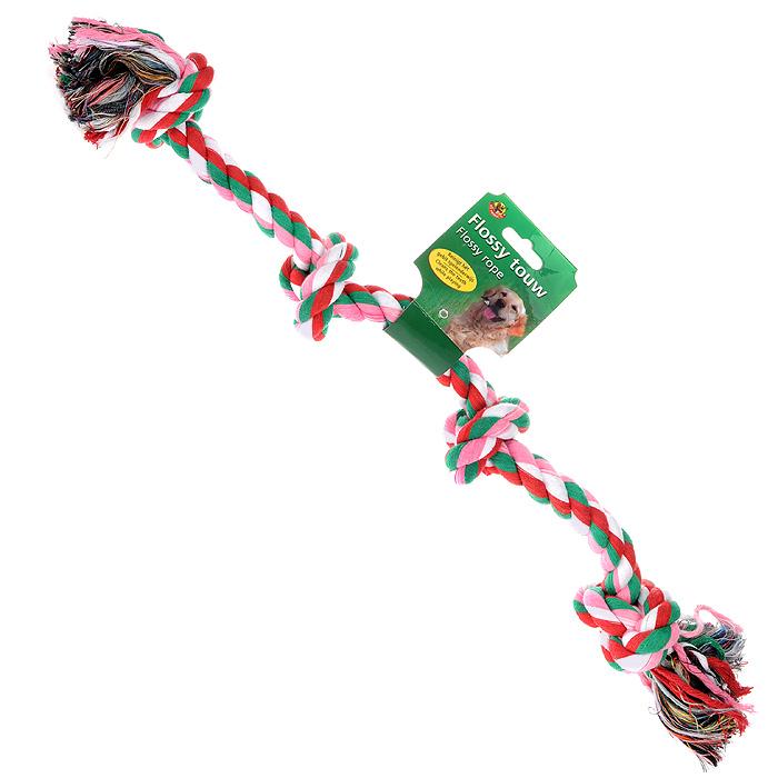 Игрушка для собак I.P.T.S. Канат с 4-мя узлами640935Игрушка для собак I.P.T.S. Канат с 4-мя узлами изготовлена из разноцветного прочного текстиля в виде каната с двумя завязанными узлами на концах и двумя узлами посередине. Специальная форма позволяет собаки тренировать и развивать челюсть собаки. Игрушка предназначена для игр с собакой любого возраста. Такая игрушка привлечет внимание вашего любимца и не оставит его равнодушным. Длина: 60 см.