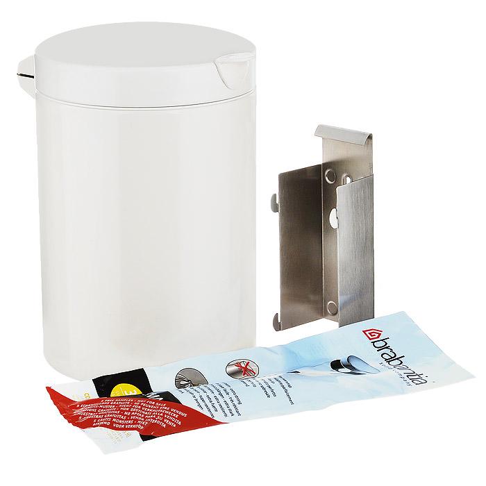 Мусорный бак Brabantia, настенный, цвет: белый, 3 л. 218668218668Компактный мусорный бак Brabantia изготовлен из коррозионностойкой стали с покрытием белого цвета. Идеально подходит для ванной комнаты и туалета! Крышка плотно прилегает к баку, надежно удерживая запах внутри. Съемное внутреннее ведро из пластика легко моется. Быстро и просто крепится к стене, при необходимости легко вынимается из кронштейна. Крепежные материалы входят в комплект. Для модели подходят мусорные мешки Brabantia (размер A).