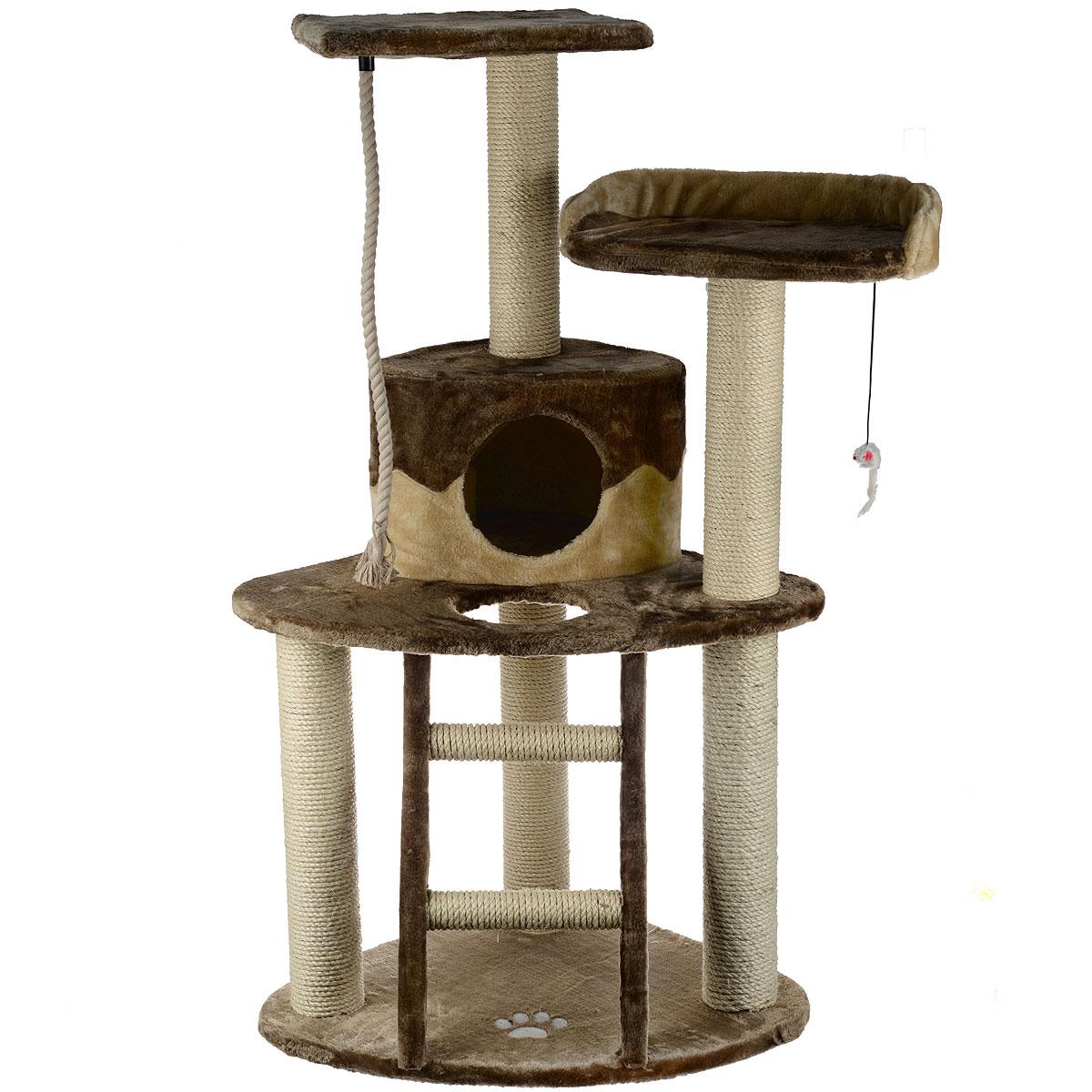 Комплекс для кошек I.P.T.S. Smarty, 55 см х 55 см х 120 см16452Угловой комплекс I.P.T.S. Smarty предназначен для досуга вашей кошки и состоит из домика, 3-х полок, когтеточки, лестницы и каната. Целый дом в распоряжении кошки. Три уровня высоты, когтеточка, лестница в игровом комплексе позволяют кошки резвится и точить коготки. Комплекс обит плюшем. Когтеточка изготовлена из сизаля, натурального прочного материала. Размер комплекса: 55 см х 55 см х 120 см.