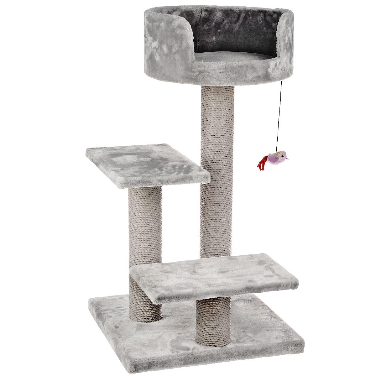 Комплекс для кошек I.P.T.S. Figo, цвет: серый, 50 см х 50 см х 92 см25874Комплекс I.P.T.S. Figo предназначен для досуга вашей кошки и состоит из трех уровней высоты. Целый дом в распоряжении кошки. Три уровня высоты, когтеточка, лестница в игровом комплексе позволяют кошки резвится и точить коготки. Комплекс обит плюшем. Когтеточка изготовлена из сизаля, натурального прочного материала. Размер комплекса: 50 см х 50 см х 92 см.