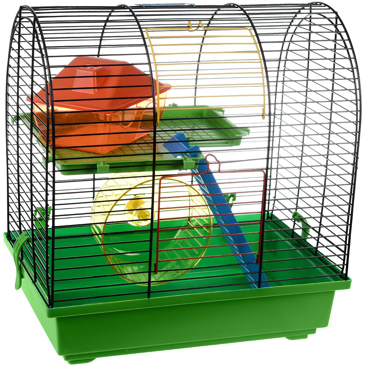 Клетка для грызунов I.P.T.S. Grim 2, цвет: черный, зеленый, 37 см х 25 см х 39 см25365Небольшая клетка снабжена всем необходимым для отдыха и активной жизни грызунов. Клетка оборудована колесом для подвижных игр, домиком для отдыха и отдельным местом для кормления. Клетка выполнена из пластика и металла. Надежно закрывается на защелки. Подходит для хомяков и других мелких грызунов. Такая клетка станет уединенным личным пространством и уютным домиком для маленького грызуна.