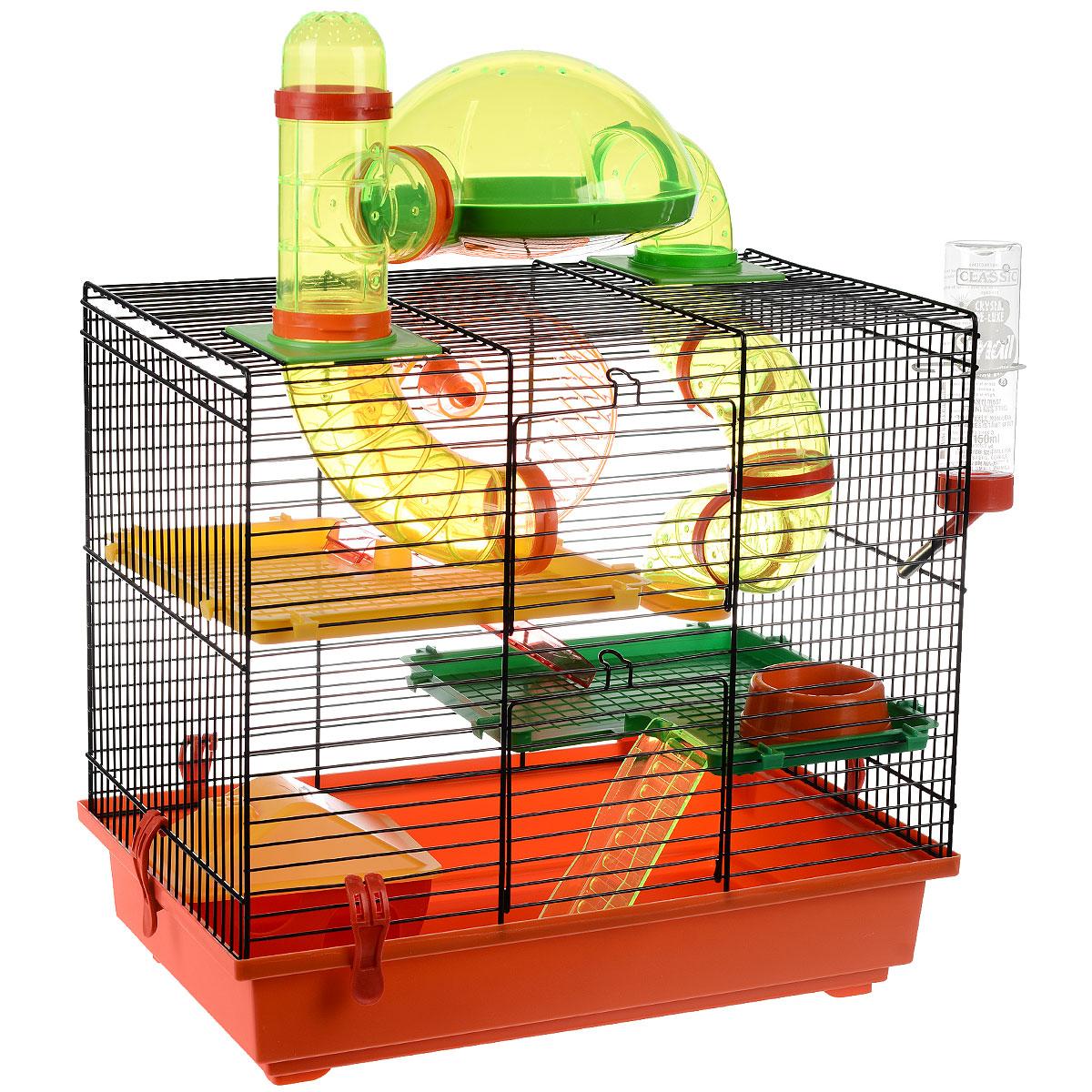 Клетка для грызунов I.P.T.S. Rocky, с игровым комплексом, цвет: черный, красный, 43 см х 28 см х 38,5 см24872/266820Яркая цветная клетка снабжена всем необходимым для отдыха и активной жизни грызуна. Подходит для мышей, песчанок, хомяков и других мелких грызунов. Это настоящий игровой комплекс с несколькими уровнями, что позволяет грызуну активно передвигаться. Клетка снабжена колесом для упражнений, специальной трубой для перемещения, кормушкой, поилкой, а также домиком, где грызун сможет спрятаться и отдохнуть. Клетка выполнена из пластика и металла. Надежно закрывается на защелки. Такая клетка станет уединенным личным пространством и уютным домиком для маленького грызуна.