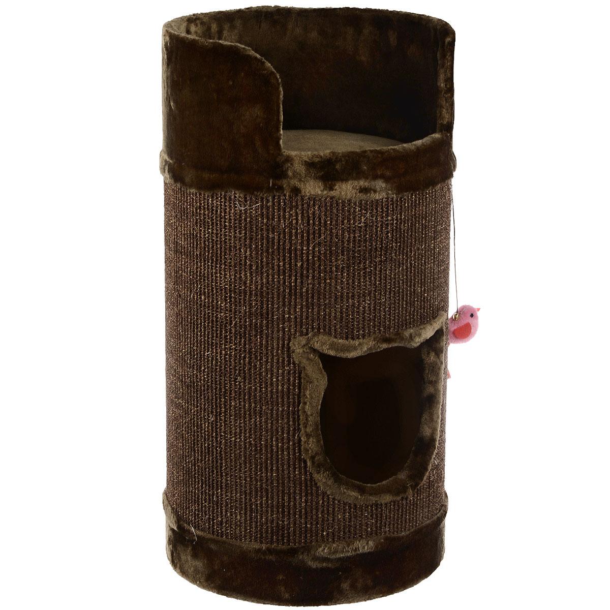 Домик-когтеточка для кошек I.P.T.S. Bruno, цвет: коричневый, 38 см х 38 см х 75 см25875Домик-когтеточка для кошек I.P.T.S. Bruno выполнен из ДСП, плюша и сизаля. Удобная когтеточка в виде бочки позволит приучить кошку точить коготки в строго определенном месте. Сверху имеется удобная площадка с бортиком, где вашему питомцу будет удобно спать.