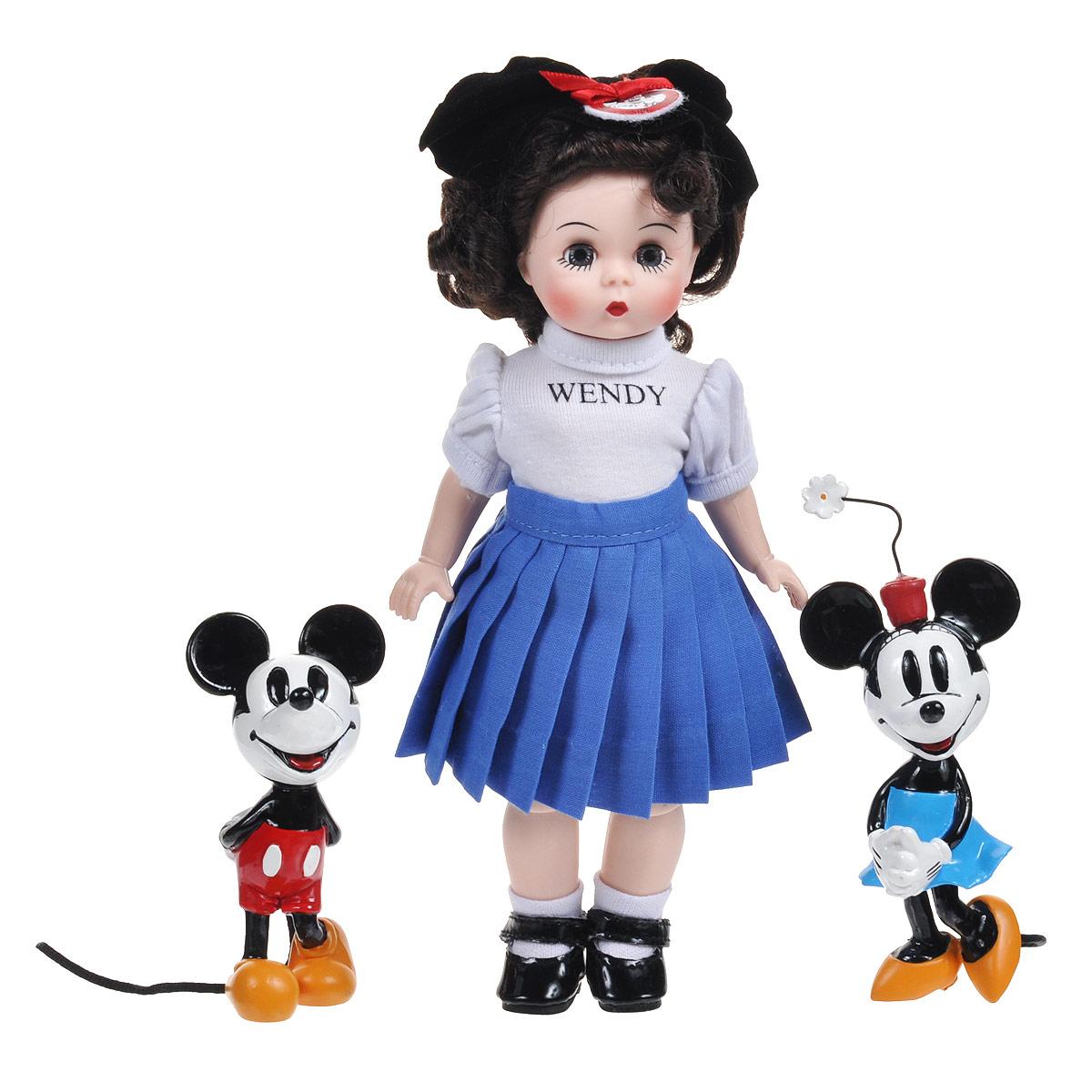 Madame Alexander Игровой набор с куклой Мини-маус Микки-маус и Венди60725MНабор кукол Madame Alexander Мини-маус, Микки-маус и Венди станет прекрасным украшением любой коллекции. В набор входят три куколки - мышки Микки Маус, Минни, выполненные как в старом диснеевском мультфильме, и Венди. Чудесная куколка с темными волосами одета в белую блузку с рукавами-фонариками и синюю юбку в складку. На ее ногах - белые носочки и черные лакированные туфельки. Голову Венди украшает милый ободок с ушками. Реалистичные глазки куклы закрываются, если положить ее на спину.