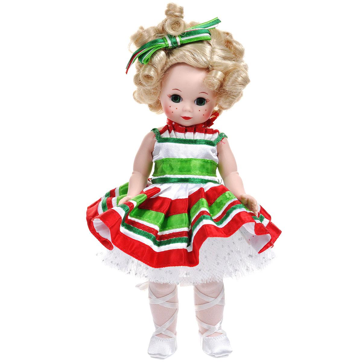 Madame Alexander Пупс Балерина Кенди51469, 61655Кукла Madame Alexander Балерина Кенди станет прекрасным украшением любой коллекции. Куколка с личиком Мегги, зелеными глазами, светлыми кудрями, причесанными на косой пробор и завязанными бантом из разноцветной ленточки создана блистать в атласной балетной пачке, украшенной такой же лентой, как и в ее волосах. Юбка скроена с плавными складками, талия подчеркнута зеленой ленточкой. Белые колготки и белые атласные балетки дополняют очаровательный образ Балерины Кенди. Реалистичные глазки куклы закрываются, если положить ее на спину.